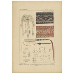 Antique Print with Fabrics of Timor and Rotti 'Indonesia', Temminck, circa 1840