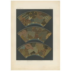 Antique Print with Segments of a Japanese Plate by G. Audsley, 1884