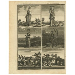 Antique Print with Various Asian Scenes 'Incl. Indonesia' by C. De Bruin, 1728