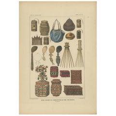 Antique Print with Various Furniture of Timor 'Indonesia', Temminck, circa 1840
