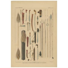 Antique Print with Weapons of Borneo 'Indonesia' by Temminck, circa 1840