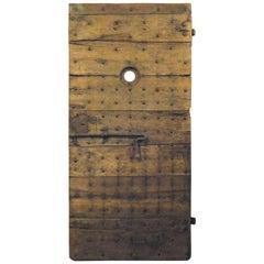 Antique Prison Door in Brown Poplar, Original Irons, 19th Century, Italy