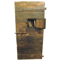 Antique Prison Door in Dark Poplar, Small Window and Irons, 18th Century, Italy