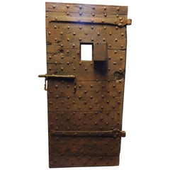 Antique Prison Door Studdet, Original Irons, Brown Wood, 19th Century, Italy