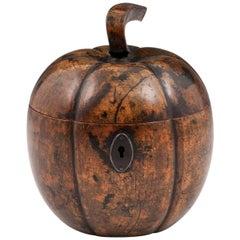 Antique Pumpkin Squash Treen Fruit Tea Caddy