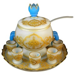Antique Punch Bowl Opal Bohemian Glass Hand cut,painted and Gilded-France