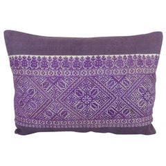 Antique Purple and White Embroidered Fez Decorative Bolster Pillow