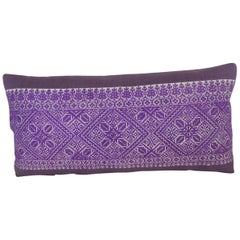 Antique Purple and White Fez Textile Long Decorative Bolster Pillow