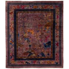 Antique Purple Art Deco Chinese Wool Rug
