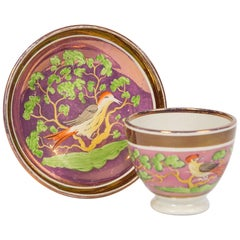Antique Purple Lustre Cup and Saucer Hand Painted in England, circa 1830