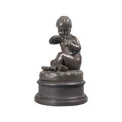Antique Putto Statue, French, Bronze, Cherub Figure, Late 19th Century