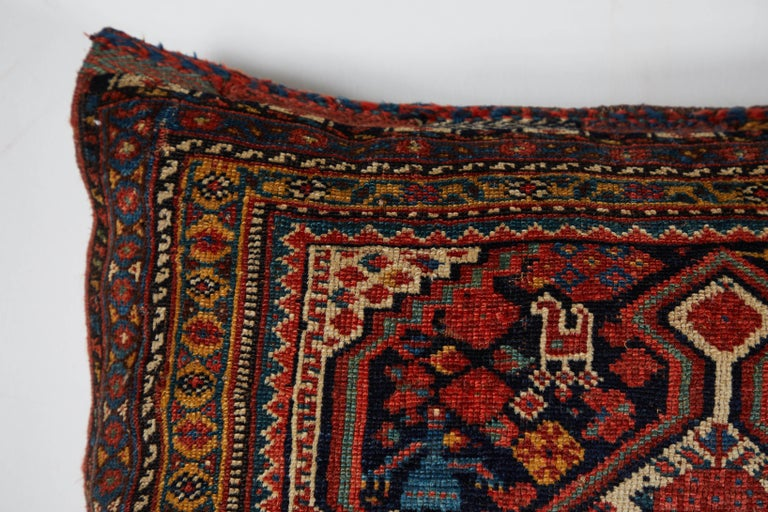 Antique Qashqai Bag Face Pillow In Good Condition For Sale In Los Angeles, CA