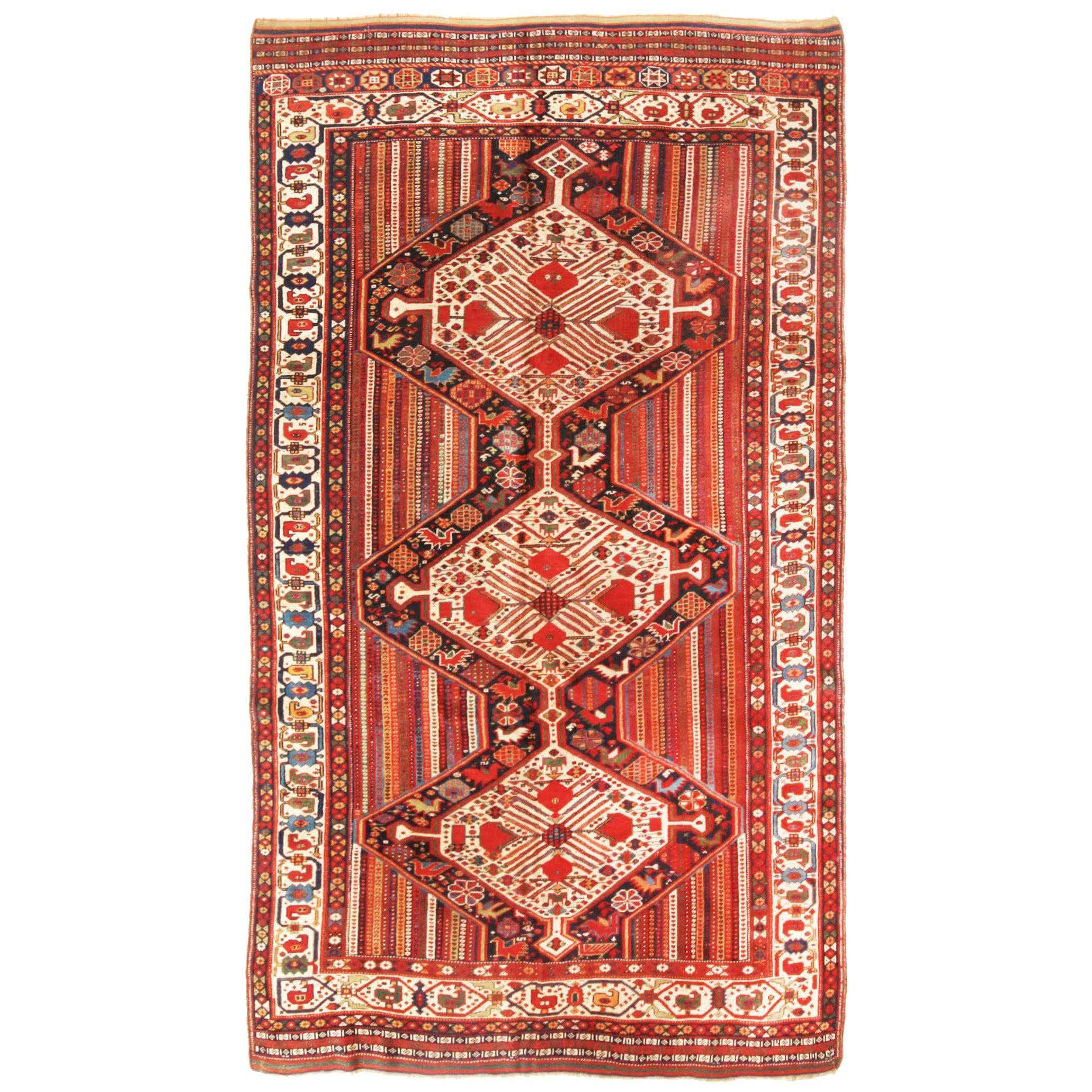 Antique Qashqai Transitional Red and Beige Wool Persian Rug