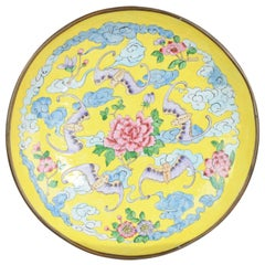 Antique Qianlong Ennamelled Bronze Cantonese Plate Bats and Prunus