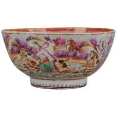 Antique Qianlong 18th Century Mandarin Rose Porcelain Bowl Chinese Hunting Scene