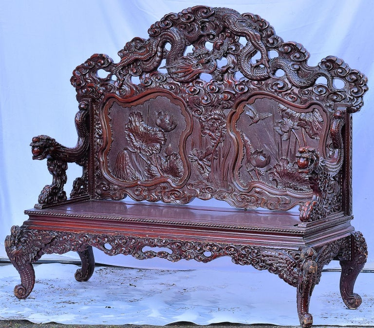 Antique Qing Dynasty Chinese Love Seat Bench, circa 1890