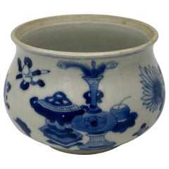 Antique Qing Dynasty Kang XI Blue and White Chinese Porcelain Censer