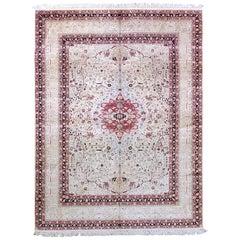 Antique Qom Silk Rug
