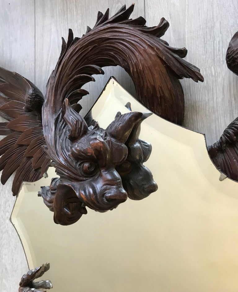 Antique & Quality Carved Dragon Sculpture Holding a Shield Shaped Beveled Mirror For Sale 10