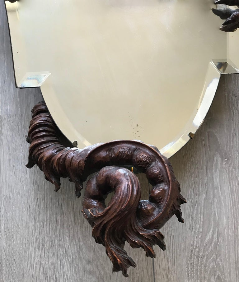 Antique & Quality Carved Dragon Sculpture Holding a Shield Shaped Beveled Mirror For Sale 1