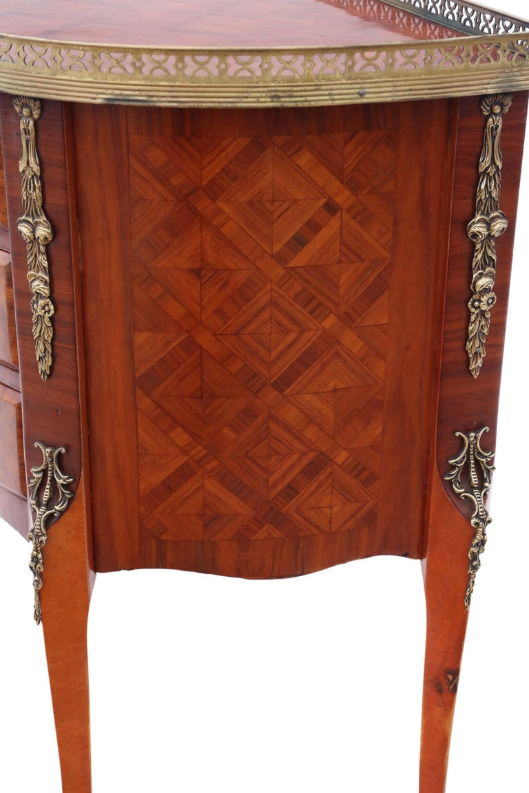 Mahogany Antique Quality Large French Inlaid Parquetry Bedside Table Cupboard For Sale