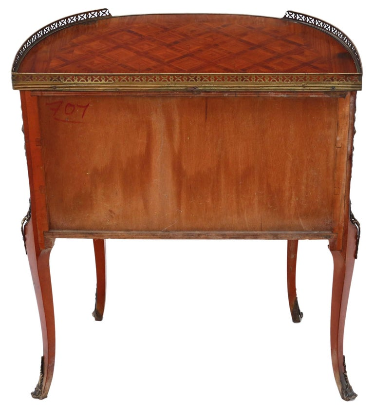 Antique Quality Large French Inlaid Parquetry Bedside Table Cupboard For Sale 2