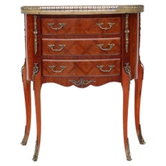 Antique Quality Large French Inlaid Parquetry Bedside Table Cupboard