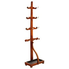 Antique Quality Red Walnut Victorian Hall, Coat, Hat, Stick, Umbrella, Stand
