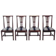 Antique Quality Set of 4 Victorian circa 1900 Mahogany Dining Chairs