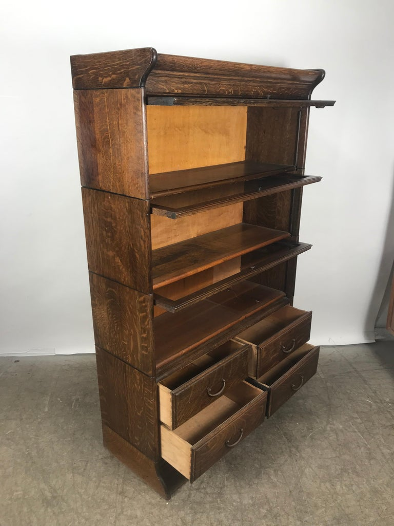 Antique Quarter Sawn Oak Stacking Lawyers Bookcase Grand