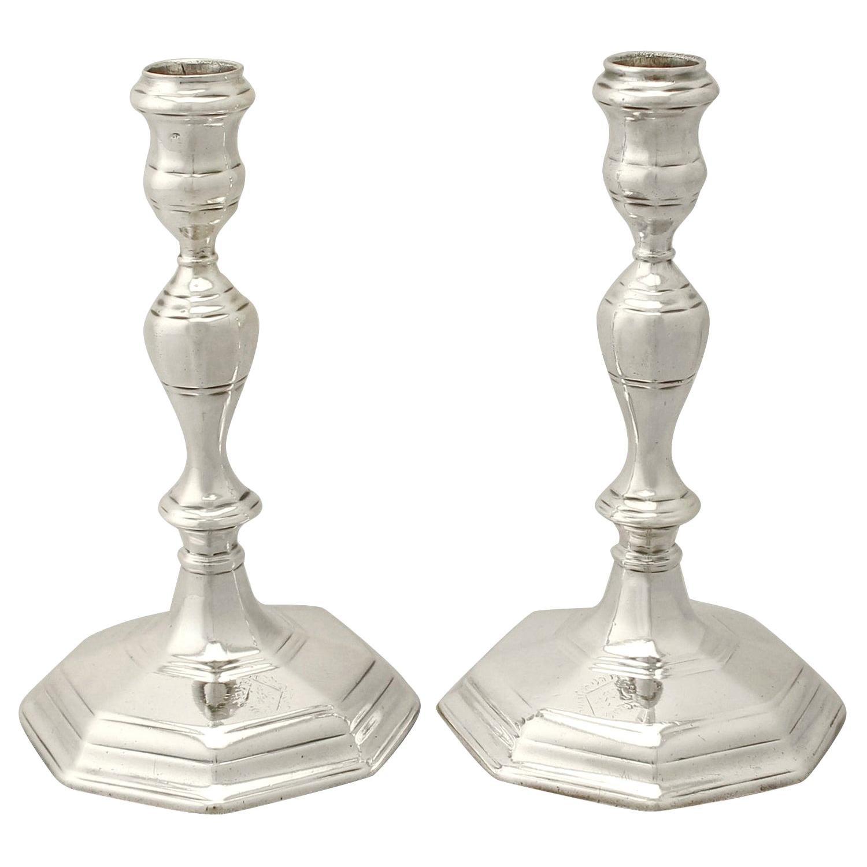 Antique Queen Anne Britannia Standard Silver Candlesticks