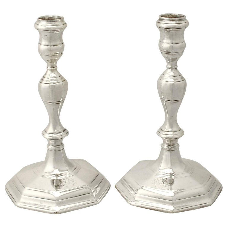 Antique Queen Anne Britannia Standard Silver Candlesticks For Sale