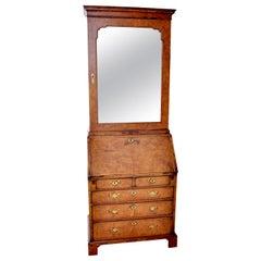 Antique Queen Anne Burl Walnut Bookcase / Bureau / Secretary Desk, circa 1710