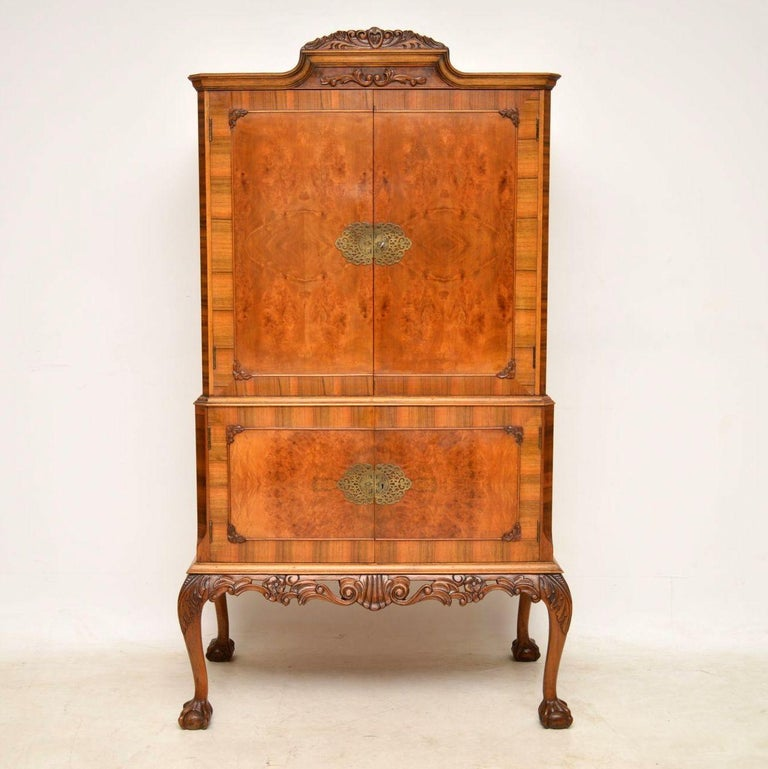 Antique Queen Anne Burr Walnut Cocktail Cabinet At 1stdibs