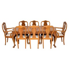 Antique Queen Anne Burr Walnut Dining Table and 8 Chairs