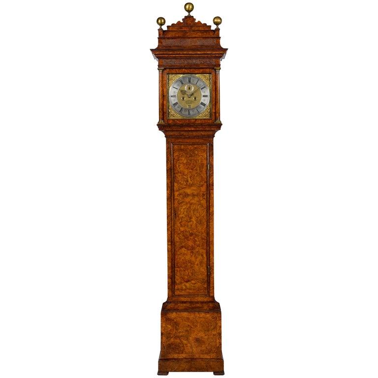 Antique Queen Anne Burr Walnut Longcase Clock by Christopher Gould, London
