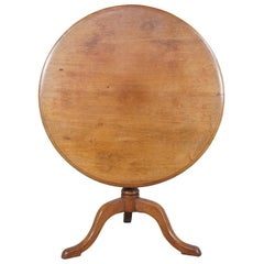 Antique Queen Anne English Mahogany Round Tilt Top Pedestal Accent Tea Table