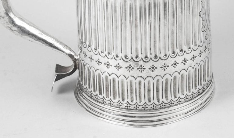Early 18th Century Antique Queen Anne English Silver Lidded Tankard