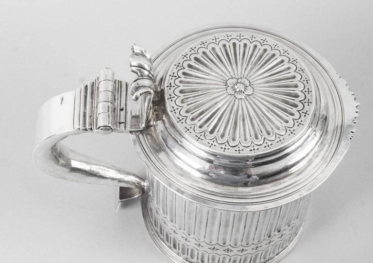 Antique Queen Anne English Silver Lidded Tankard
