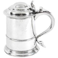 Antique Queen Anne English Silver Tankard, 1706, 18th Century