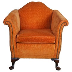 Antique Queen Anne Mahogany Gentlemans Club Library Arm Chair Orange Nailhead