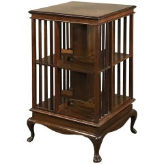 Antique Queen Anne Mahogany Revolving Book Stand