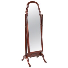 Antique Queen Anne Revival Walnut Inlaid and Carved Cheval Mirror
