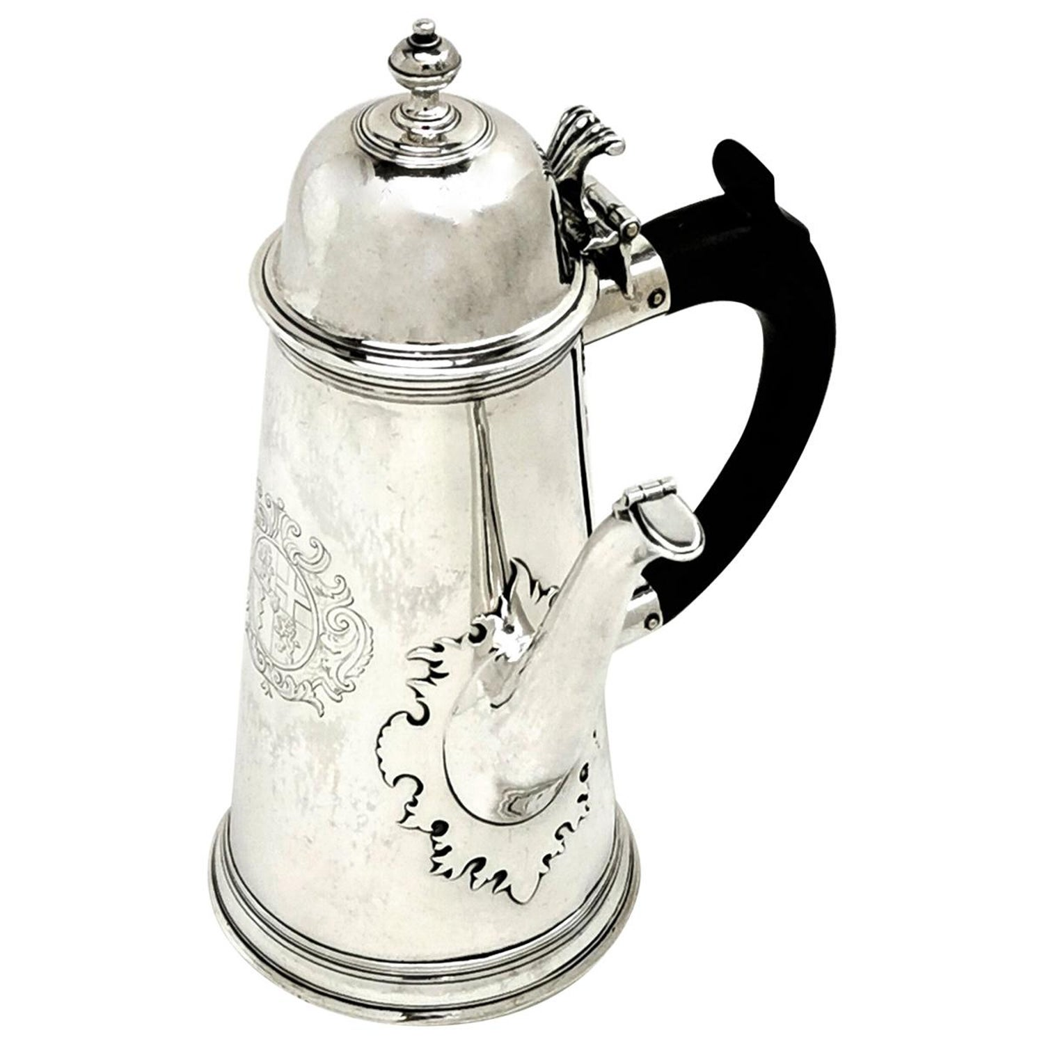 Antique Queen Anne Sterling Silver Coffee Pot Side Handled, 1793