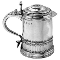 Antique Queen Anne Sterling Silver Lidded Tankard Beer Mug 1704, 18th Century