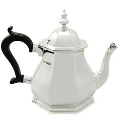 Antique Queen Anne Style 1927 Sterling Silver Teapot