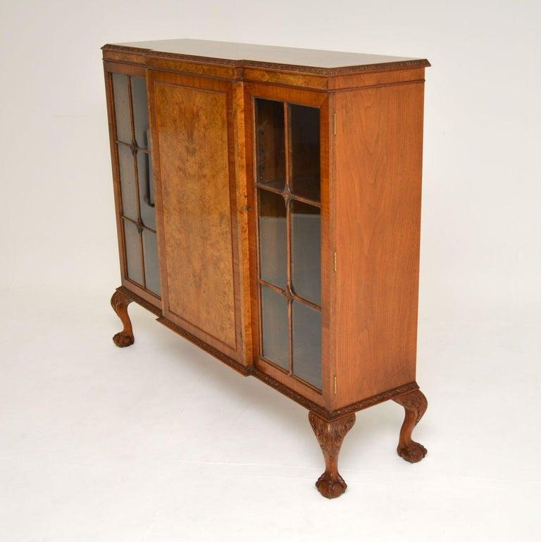 Antique Queen Anne Style Burr Walnut Bookcase 4