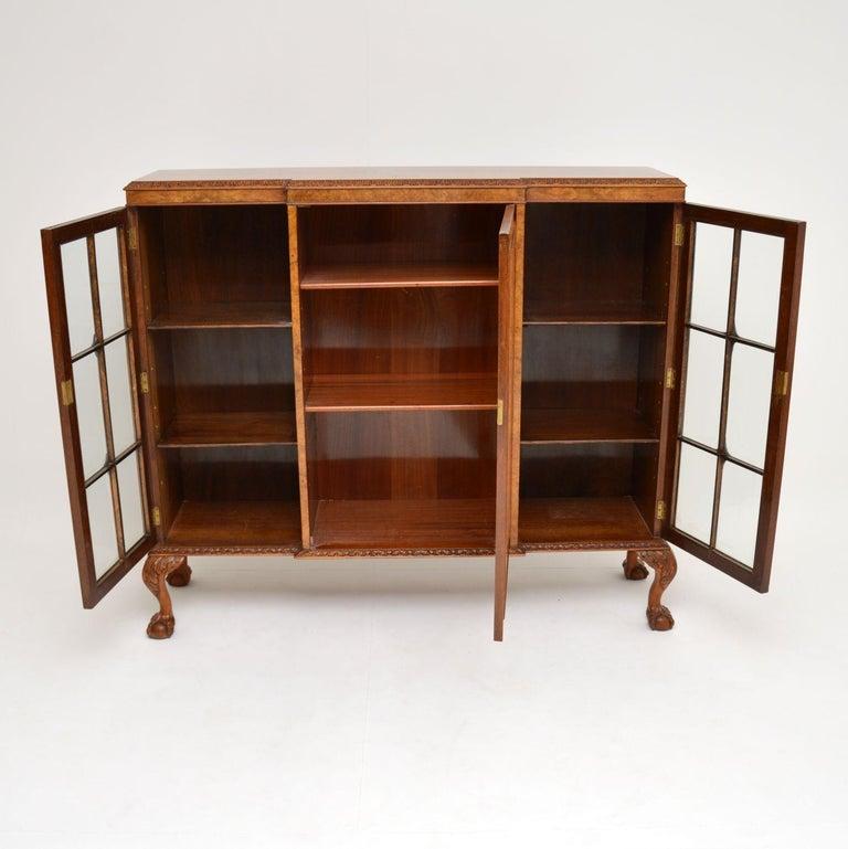 British Antique Queen Anne Style Burr Walnut Bookcase