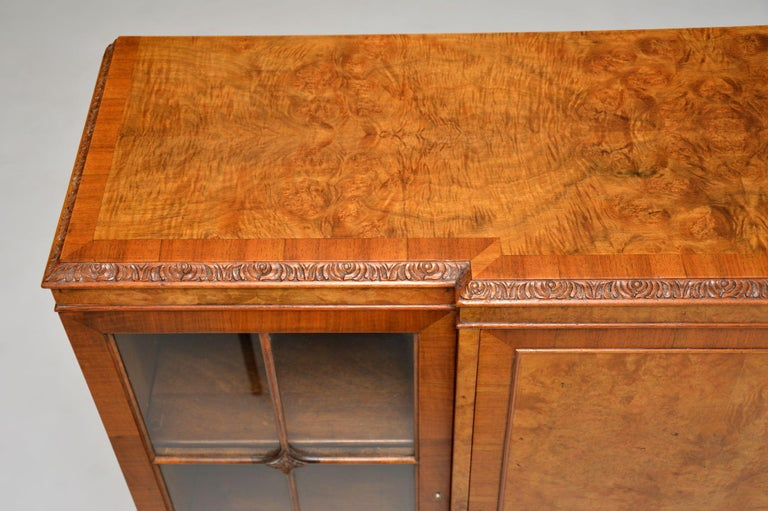 Early 20th Century Antique Queen Anne Style Burr Walnut Bookcase