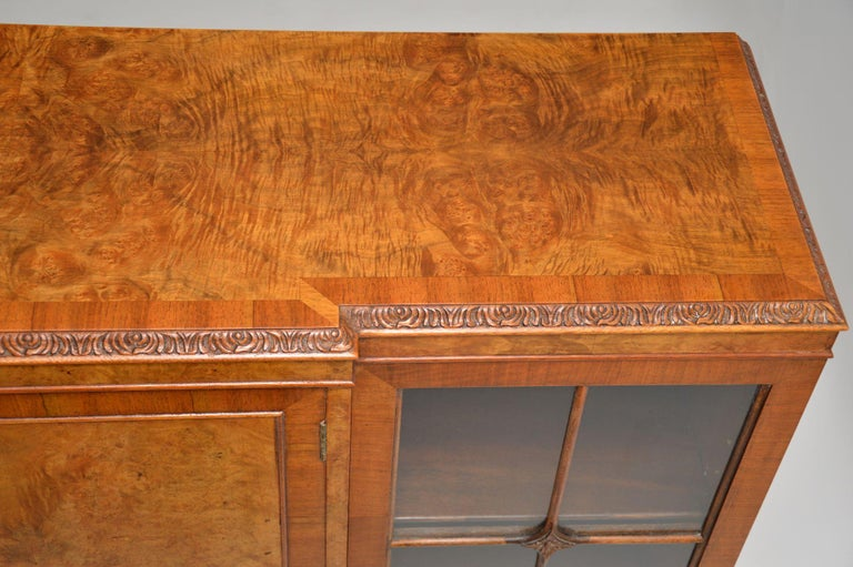 Glass Antique Queen Anne Style Burr Walnut Bookcase
